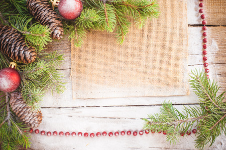 Christmas background on a wooden rustic old table photo