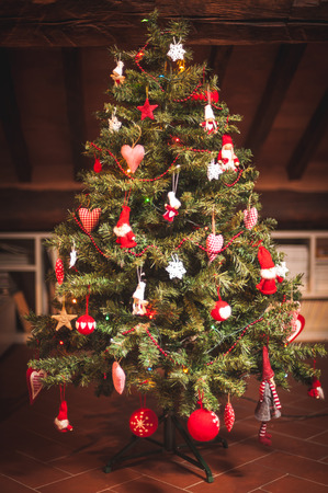 Christmas tree and Christmas decorations Archivio Fotografico
