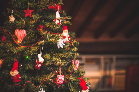 december: Christmas tree and Christmas decorations Stock Photo