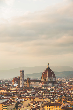 Picturesque view of Florence from Michelangelo Square, Italy photo