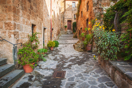 Small alley in the Tuscan village photo