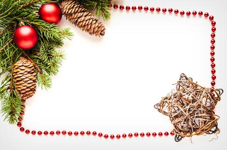 Christmas decorations isolated on white background photo