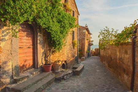 Small alley in the Tuscan village Standard-Bild