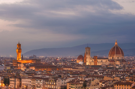 Night panorama of Florence in the beautiful framing photo