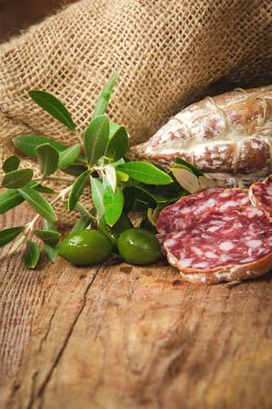 salame: Sausage salami in a rural setting