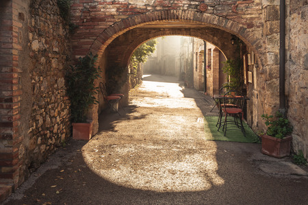 Unknown streets in the old medieval town in Italy