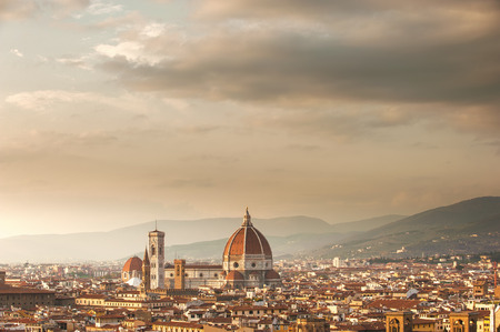 campanile: Picturesque view of Florence from Michelangelo Square, Italy Stock Photo