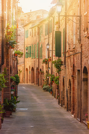 Old beautiful Tuscan streets in the Italian town photo