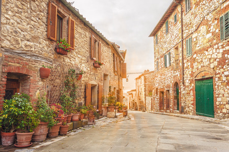 Old street in Italian town in Tuscany.