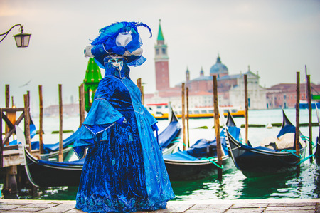 Venetian carnival, masquerade one of a kind in the world. Stock Photo