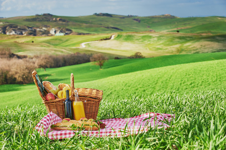 Tuscan picnic on the green spring grass with landscape in the background