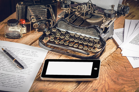 Digital Tablet, analog machine, analog camera when creating a text to an article or study.