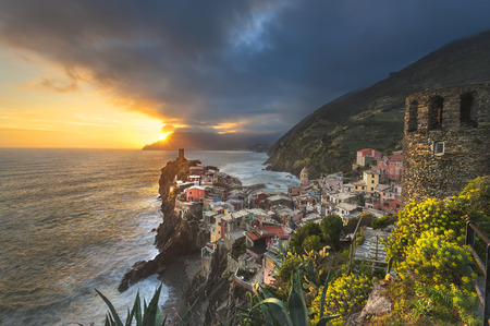 Beautiful view from hills on the coast town of Vernazza, Cinque Terre, Italy photo