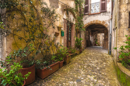 tuscany: Solar ancient town and the streets of the beautiful Tuscany, Italy Stock Photo
