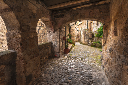 urban idyll: Solar ancient town and the streets of the beautiful Tuscany, Italy Stock Photo