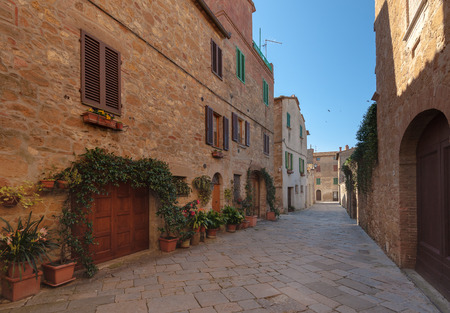 Beautiful and picturesque streets of the Tuscan small town, Pienza