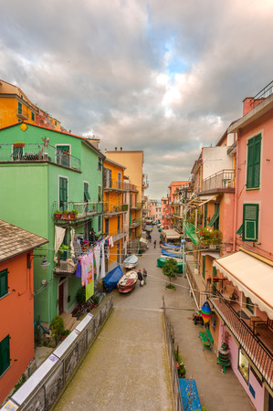 seaside town: Street in the seaside town in the National Park of Cinque Terre, Italy