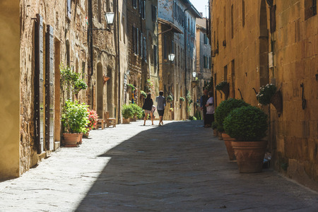 Beautiful colorful streets of the Tuscan town on a sunny day Stock Photo