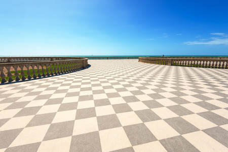 livorno: Terrace Mascagni in Livorno, viewpoint along the sea with the checkerboard floor, Tuscany, Italy