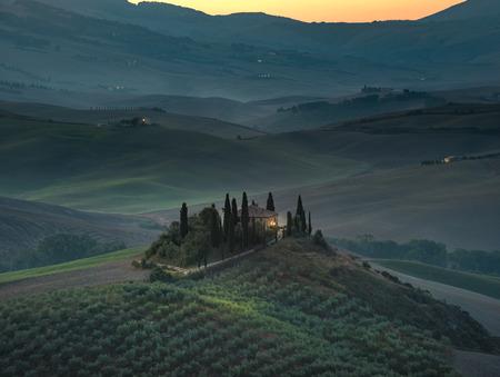val dorcia: Tuscany summer landscape in Val dOrcia, Italy