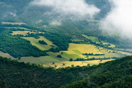 monti: Foggy view of the park Monti Sibillini Stock Photo