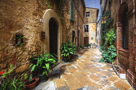 Beautiful nooks and crannies of the medieval Italian village in Tuscany, Pienza