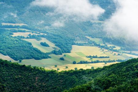 sibillini: Foggy view of the park Monti Sibillini Stock Photo