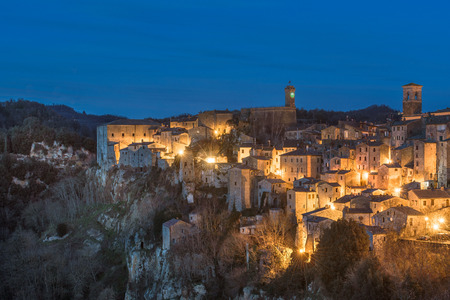 etruscan: Night panorama of the Etruscan medieval town in Tuscany, Sorano. Stock Photo