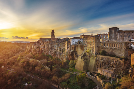 Panorama of the medieval town of Etruscan in Tuscany, Pitigliano. Stock Photo