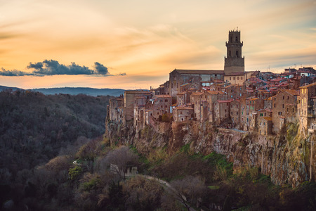 etruscan: Panorama of the medieval town of Etruscan in Tuscany, Pitigliano. Stock Photo