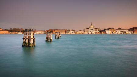 venezia: View of the island Guidecco at sunset. Venezia, Italy. Stock Photo