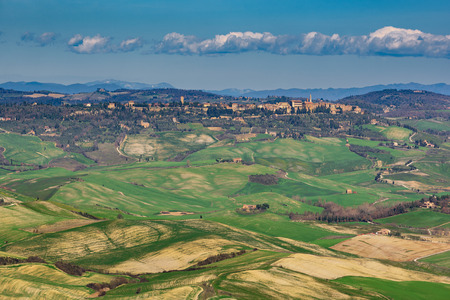 val dorcia: Panoramic aerial view of the Val dOrcia, Tuscany