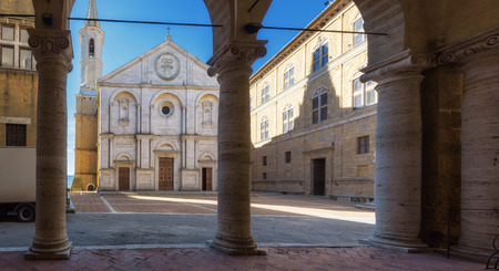 Famous square in front of Duomo in Pienza, ideal Tuscan town, Italy.