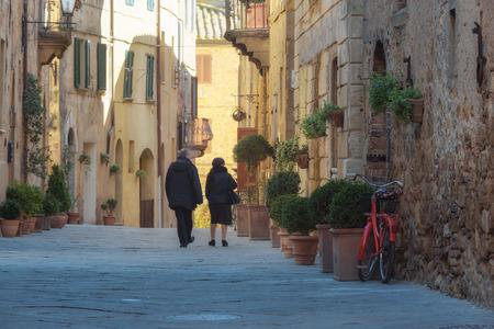 pienza: Tourist destination city, full of restaurants in southern Tuscany, Pienza. Stock Photo