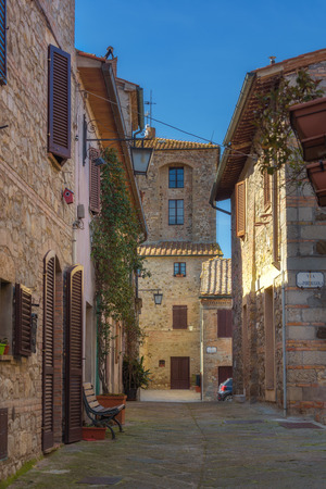 contingent: Streets of tiny ancient town in Tuscany, Contignano.