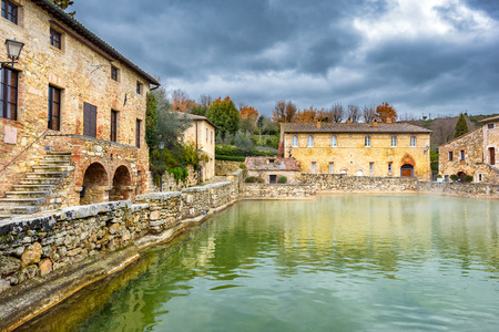 the tuscany: Small town famous for its hot water springs in Tuscany, Bagno Vignoni. Stock Photo