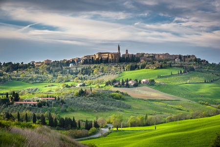 pienza: Spring landscape of Tuscany overlooking the medieval town of Pienza.