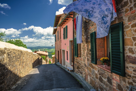montalcino: Medieval architecture in the Italian town of Montalcino. Stock Photo