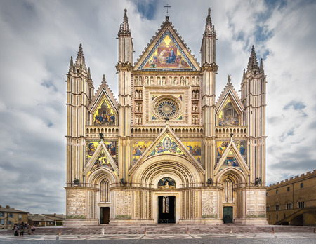 orvieto: Wonderful cathedral decorated with gold plated ornaments in Orvieto, Umbria.