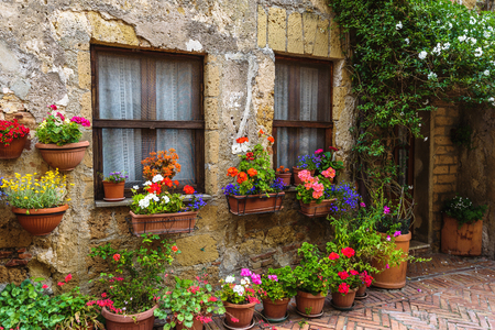 Flower filled streets of the old Italian city in Tuscany.
