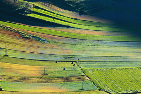 Air view of the landscape of Umbria, Italy Stock Photo