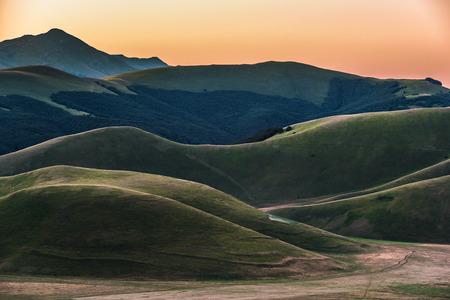 norcia: Mountain summer in Umbria landscape, Italy. Castelluccio di Norcia