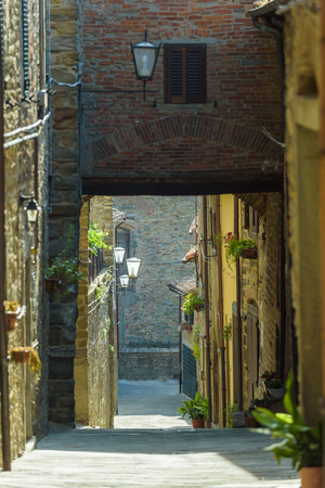 Beautiful streets and corners of the Tuscan town of Cortona, Italy.
