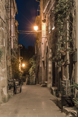 Nightlife streets of the old town in Tuscany, Pitigliano.