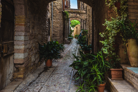 spello: Surprising appearance of streets full of flowers in Spello, Umbria.
