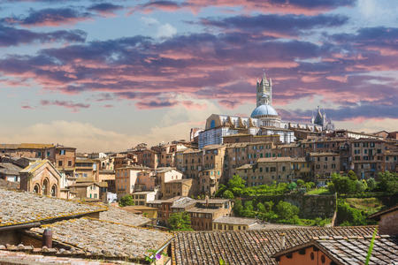 Tuscan Medioval cityscape of Siena, Stock Photo
