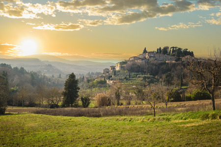 Attracted by the town between the hills, Cetona in Tuscany. Stock Photo