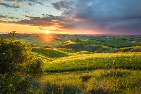 Panoramic view in spring day on the landscape of Crete Senesi. Stock Photo