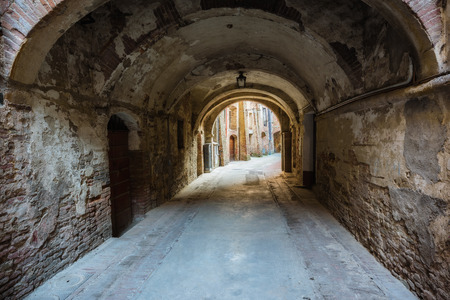 Amazing trip on the historical alley of the Montepulciano in Tuscany. Stock Photo