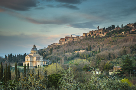 Skyline of the aerial view of the film famous town Montepulciano, Italy Stock Photo